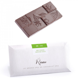 Tablette chocolat cru 68% noix de coco 45g