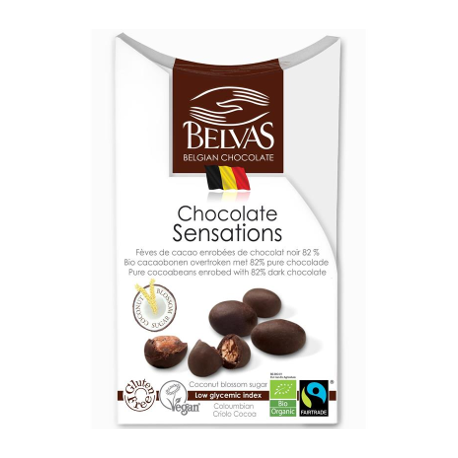 Fèves de cacao enrobées de chocolat noir 100g