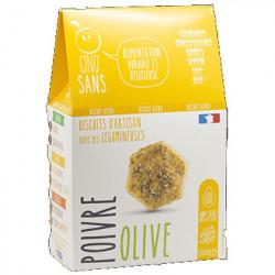 Biscuits apéro olive poivre 100g - Cinq Sans