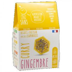 Biscuits apéro gingembre curry 100g - Cinq Sans