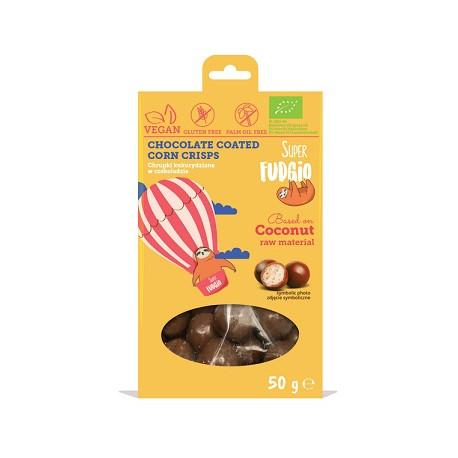 Boules croquantes au maïs enrobées de chocolat 50g